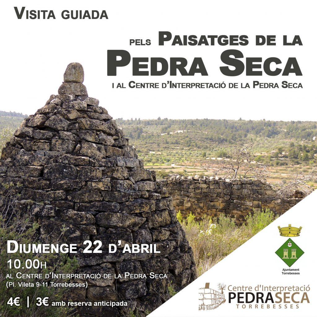 Cartell visita guiada pels paisatges de la pedra seca de dissabte 22 d'abril a les 10h