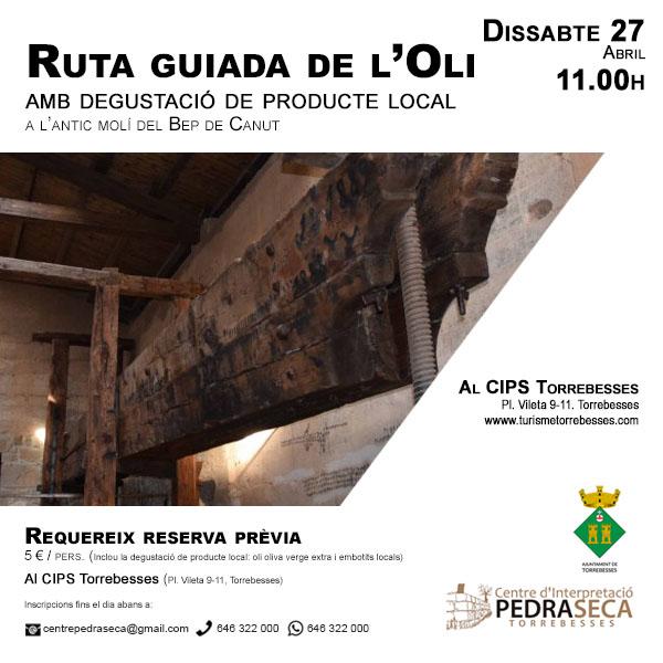 Ruta guiada de l'oli amb degustació de producte local @ Centre d'Interpretació de la Pedra Seca